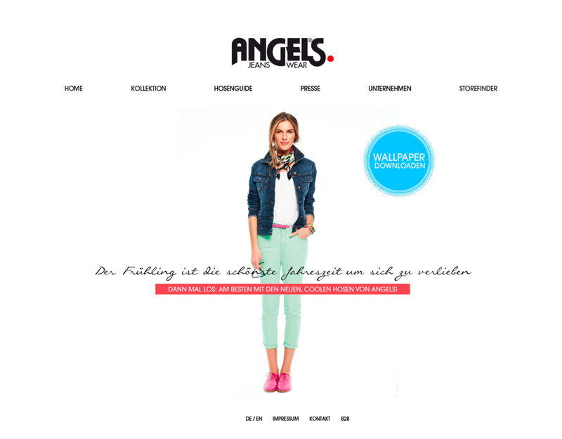 Pimcore Website von Angels Jeans